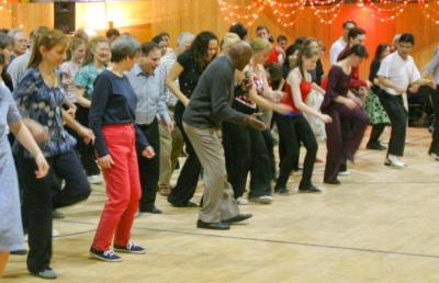 Frankie Manning leading Shim Sham at the Hop to the Beat Dance, Cambridge Friends School, February 2005